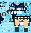 worldwide socializing by means of media network vector image