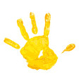 yellow children hand print vector image vector image