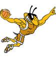 yellow jacket sports logo mascot basketball vector image vector image