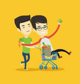 couple of friends riding by shopping trolley vector image
