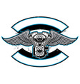 motorbike club badge with engine and wings vector image