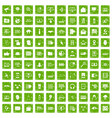 100 cyber security icons set grunge green vector image vector image