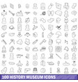 100 history museum icons set outline style vector image vector image