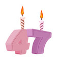 47 years birthday number with festive candle for vector image vector image