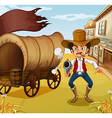 A man holding a gun beside a carriage with a flag vector image vector image