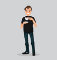 a man holds a cup coffee vector image