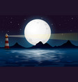an ocean view at night vector image