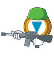 army verge coin character cartoon vector image vector image