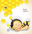 Baby shower card with newborn child dressed as bee vector image