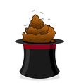 Bad focus Piece of shit in hat magician Poop and vector image vector image