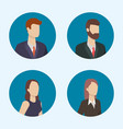 business people characters round icons vector image vector image