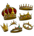 cartoon royal king golden crown set vector image