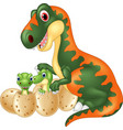 cartoon tyrannosaurus with baby dinosaur vector image vector image