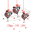 Christmas roosters vector image vector image