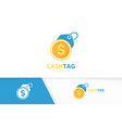 coin and tag logo combination money and vector image vector image