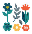 colored flowers in simple style vector image vector image