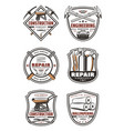 construction company retro badge with repair tool vector image vector image