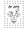 Cute Christmas greeting card with deer vector image