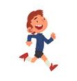 cute happy boy running preschool kid daily vector image