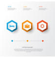 exploration icons set collection of sunny bag vector image vector image