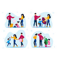 family leisure child education flat set vector image vector image
