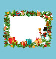 festive frame of spruce for christmas holiday vector image vector image