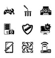 fix computer icons set simple style vector image