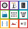 flat icon service set of lifting motor vector image vector image