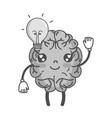 grayscale kawaii happy brain with bulb idea vector image vector image