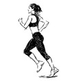 Hand sketch of a running woman vector image vector image
