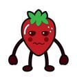 kawaii strawberry fruit cartoon character vector image vector image