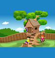 kids playing in a tree house vector image vector image