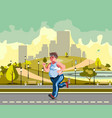 man running in the park and sweating to lose vector image vector image