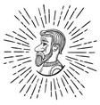 man with a beard in profile sketch vector image