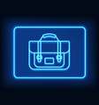 neon rectangle frame with briefcase glowing vector image