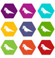 origami bird icons set 9 vector image