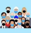 people wering masks during epidemia vector image