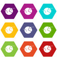 percentage diagram icon set color hexahedron vector image vector image