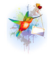 rainbow humming-bird with card for text and hearts vector image
