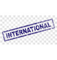 scratched international rectangle stamp vector image vector image