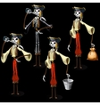 set five pirates skeletons with different items vector image