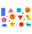 set geometric shapes with face emotions cute vector image vector image