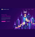 smart city future logistic isometric landing page vector image vector image