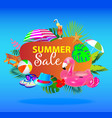 summer sale banner design with colorful beach vector image vector image