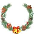 watercolor christmas wreath with golden bells vector image vector image