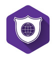 white shield with world globe icon isolated with vector image vector image