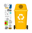 yellow garbage can with metal trash vector image vector image