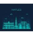 Naples skyline silhouette linear style vector image