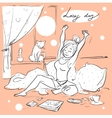 Pretty woman in bed vector image