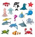 Ocean or sea cartoon isolated characters vector image